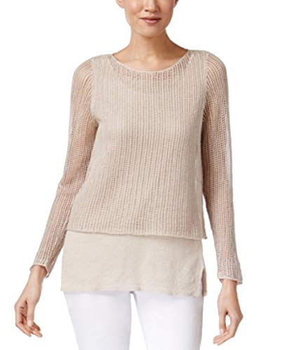 Eileen Fisher Petite Sweater - Eileen Fisher Petite Linen Layered-Look Sweater (Natural, PL)