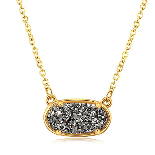 - Ellena Rose Dainty Druzy Necklace, 100 Percent Natural Druzy, 14K Gold Plated Oval Druzy Pendant Necklace for Women, Druzy Necklaces for Women, Genuine Druzy Jewelry (Dark Silver)