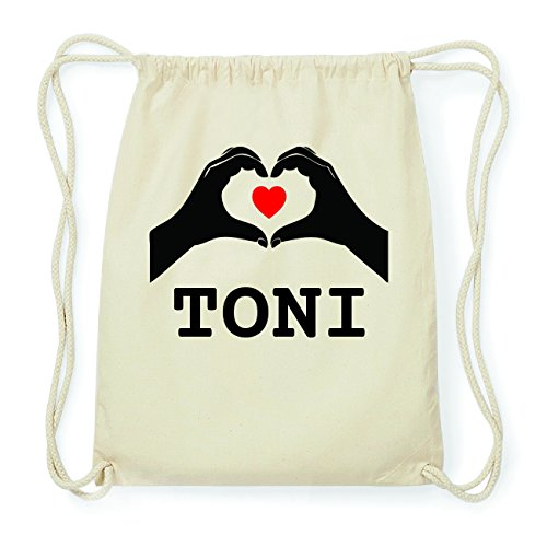 JOllify TONI Hipster Turnbeutel Tasche Rucksack aus Baumwolle - Farbe: natur Design: Hände Herz