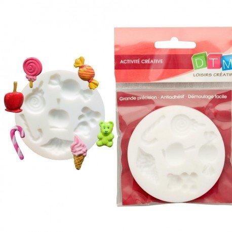 Graine Créative Moule en Silicone 6 Motifs Miniatures Bonbons D'enfant, Rond de 7cm Extra Flexible