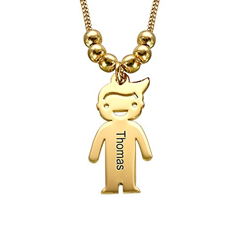 - MyNameNecklace Personalized Children Charms Mothers Necklace - Engraved Boy-Girl Charm - Gold Plated Gift for Mom