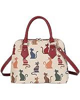 Signare Womens Fashion Canvas Tapestry Convertible Shoulder Handbag in Cheeky Cat Design