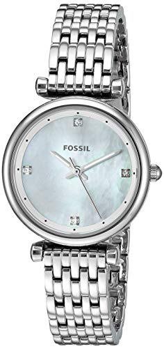 Fossil Women's Mini Carlie Stainless Steel Quartz Strap, 12 Casual Watch (Model: ES4430) - Ladies Fossil Mini