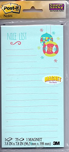 "Post-it - Magnetic Note Pad - ""Nice List"" - Holiday (blue)"