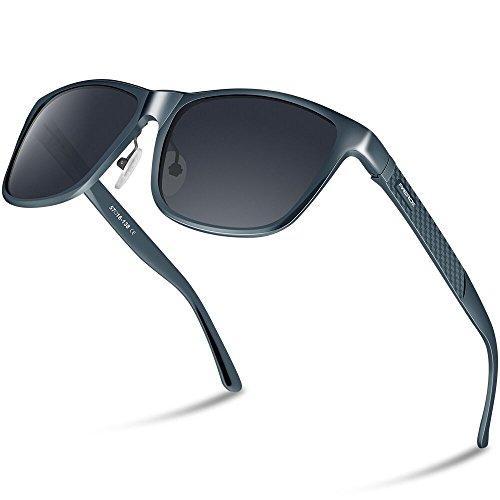 PAERDE Men's Polarized Sunglasses For Men Driving Metal Frame Ultra Light Sun Glasses (Grey) -