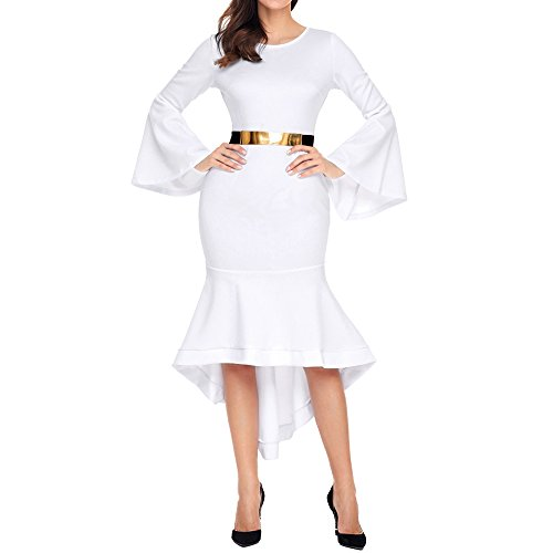 Eiffel Women Long Sleeve Sheath Dress Mermaid Cocktail Evening Formal Dresses White