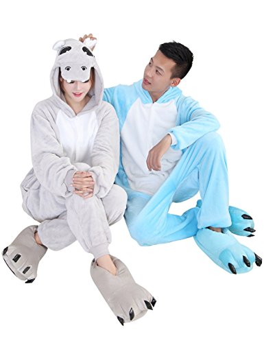 Duraplast Adults Funny Christmas Costume For Couples Hoodie One-Piece Hippo (Blue,L)