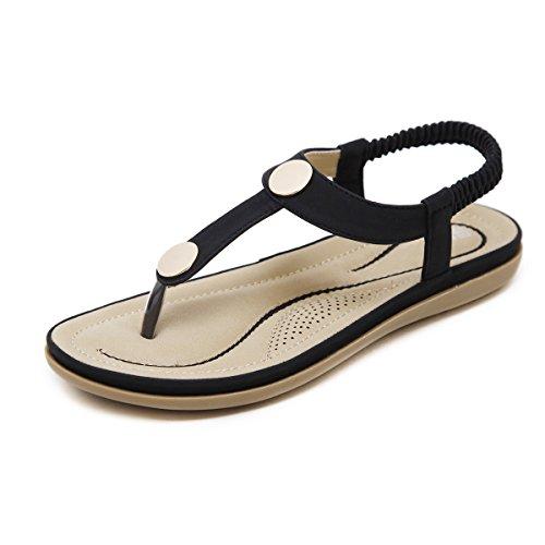 Dear Time Bohemia Thong Sandals for Women Summer Bohemia Beach T-Strap Metal Casual Flats Gladiator Shoes Black US 5.5