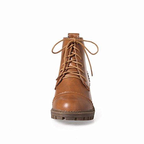 Latasa Kvinna Spets-up Låg Chunky Klack Boots Brungul