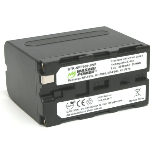 Wasabi Power Battery for Sony NP-F975, NP-F970, NP-F960, NP-F950 (8500mAh) and Sony DCR-VX2100, DSR-PD150, DSR-PD170, FDR-AX1, HDR-AX2000, HDR-FX1, HDR-FX7, HDR-FX1000, HVL-LBPB, HVR-HD1000U, HVR-V1U, HVR-Z1P, HVR-Z1U, HXR-MC2000U, MVC-FDR1, NEX-EA50UH, NEX-FS100U, NEX-FS700U