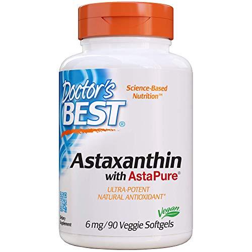 Doctors Best Astaxanthin, Non-GMO, Gluten Free, Vegan, Soy Free, Powerful Antioxidant, 6 mg, 90 Veggie Softgels