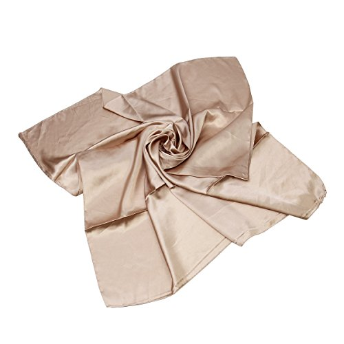 Large Beige Satin - Elegant Large Silk Feel Solid Color Satin Square Scarf Wrap 36