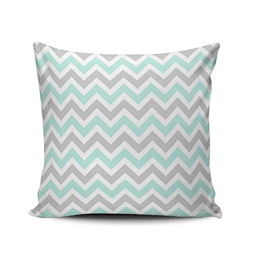 KAQIU Home Decoration Pillowcase Cover Aqua Turquoise and Gray Colorful Chevron Stripes Custom Pillow case Cushion Fashion Chic Design Single Sided Printing European Size 26x26 Inch