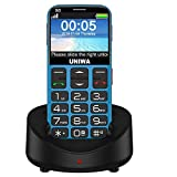 """Mosthink 3G Senior Cell Phone WCDMA GSM Unlocked Cell Phone for Elder Citizen Kids 2.31"""" Curved Screen Big Font SOS Emergency Big Button Embossed Keyboard Simple Phone with Charging Dock (V808G Blue)"""