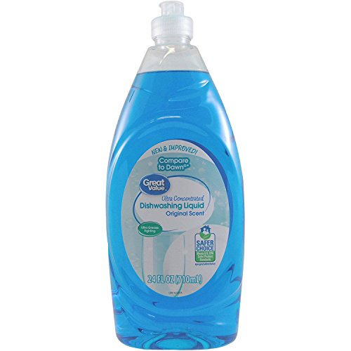 Great Value Ultra Concentrated Original Scent Dishwashing Liquid, 24 Oz, Pack of 2