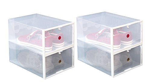 - ITIDY Shoe-Boxes-Clear-Plastic, Shoe Box for Women and Men Size, Foldable Stackable Shoe Container, Closet Shelf Shoe Organizer, 4pk, Large Size
