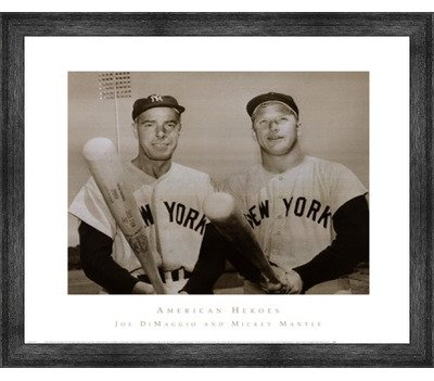 Poster Palooza Framed American Hero's Joe DiMaggio & Mickey Mantle- 30x26 Inches - Art Print (Black Barnwood Frame) ()