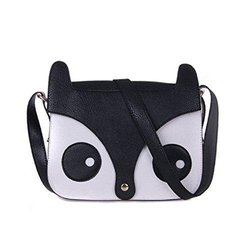 Coromose Cartoon Fox Handbags Girl Women Shoulder Bag Tote Satchel Cross Body Bag (Black)