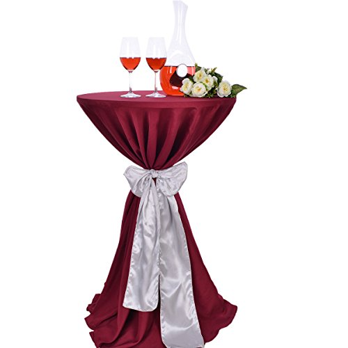 2.5' Diameter Bar - LOVWY Colors Optional Seamless Polyester 30 Inch (2.5 FT) Round Cocktail Tablecloth Satin Sash Combination For Decoration Of Wedding Engagement Club Bar Outdoor Party (Burgundy Tablecloth, Silver)