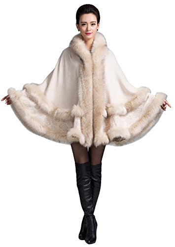a7970307dc8 PLAER Women s Faux Fox Fur Trim Cape Cloak Warm Coat Hooded Cape Plus Size  (Beige