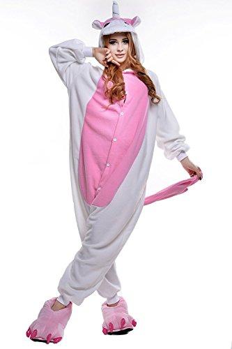 Adult New Kigurumi Cute Pink White Unicorn Onesies Pajamas Cosplay Halloween Costume for Women Men (Cute Halloween Costumes For Men)