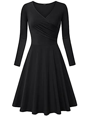 Laksmi Women's Long Sleeve Elegant Vintage A Line Dress