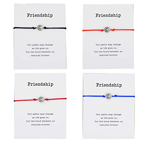 Pipitree 4Pcs Thank You Wish Bracelet Gift Card Friendship Jewelry Tree of Life Charm Bracelet,Friendship