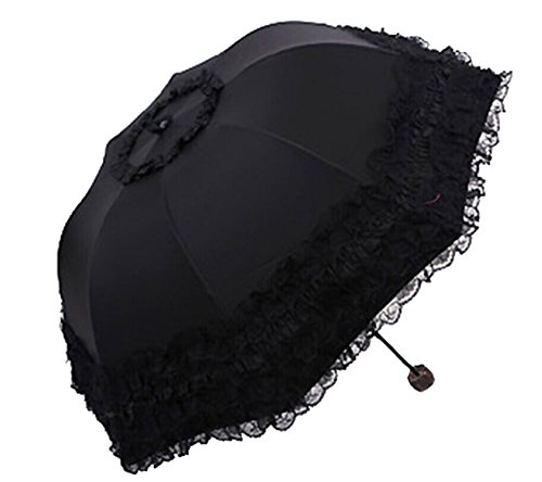 Honeystore Princess Lace Ultraviolet-Proof Folding Umbrella Anti-uv Dome Parasol Style1 Black -