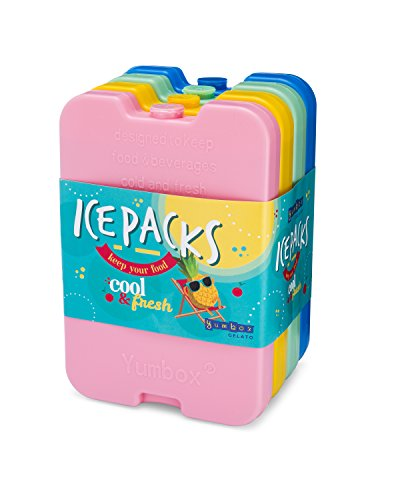 Yumbox Ice Packs - set of 4 Multi - Cool Pack, Slim Long-Lasting Ice Packs - Great for Coolers or Lunch - Yumbox Box Bag Lunch