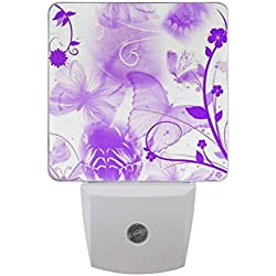 Night Light Purple Butterfly Led Light Lamp for Hallway, Kitchen, Bathroom, Bedroom, Stairs, DaylightWhite, Bedroom, Compact