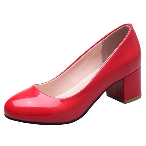 TAOFFEN Women's Block Heel Court Shoes Red