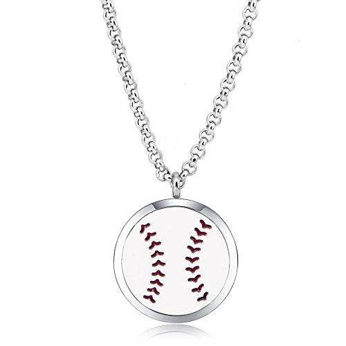 Magnetic Necklace Baseball - MESINYA (30mm Essential Oil Diffuser Necklace Aroma Hypo-Allergenic Magnetic Locket Pendant with 24'' Chain&Pads (Baseball)