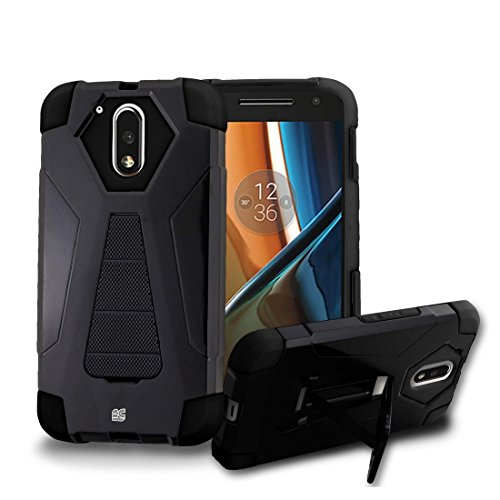 Price comparison product image Moto G4 Plus - [Black] Dual Armor Kickstand Case, Atom LED, Tempered Glass Screen Protector and Premium Cellet 18W [Qualcomm Quick Charge 2.0] Car Charger with Micro USB Cable [4 ft.]