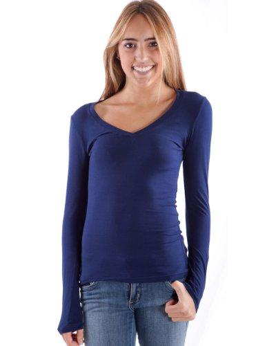 Hollywood Star Fashion camiseta de manga larga cuello en V camiseta de tirantes para mujer Marino