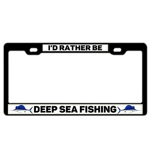 I/'d Rather Be Fishing Photo License Plate Frame  Free Screw Caps with this Frame