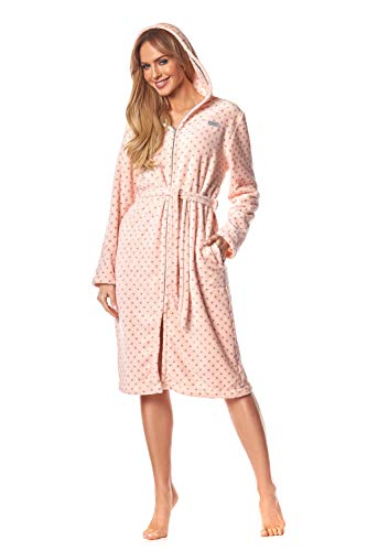 L & L – 9156 Long Luxury Toweling Badjas voor dames, zachte lange mouwen Extreem licht. Huismantel met ritssluiting in…