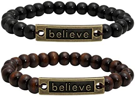 Eigso Natural Wooden Bracelet Beads for Women Men Elastic Stretchable Inspirational Engraving Metal