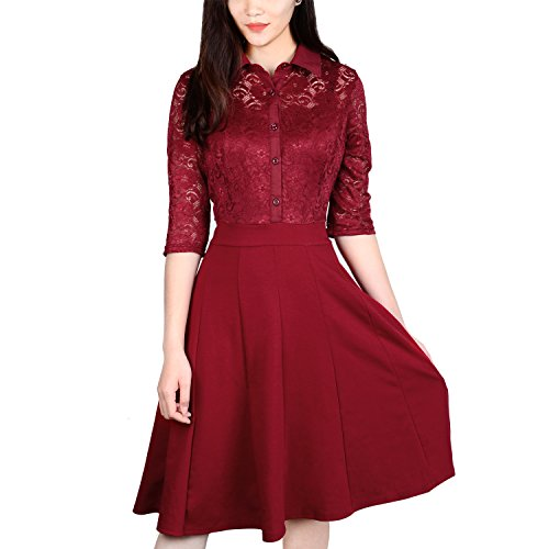 Lace Dress, Vitalismo A-line Knee Length Half Sleeve Cocktail Party Dress (L, RED)