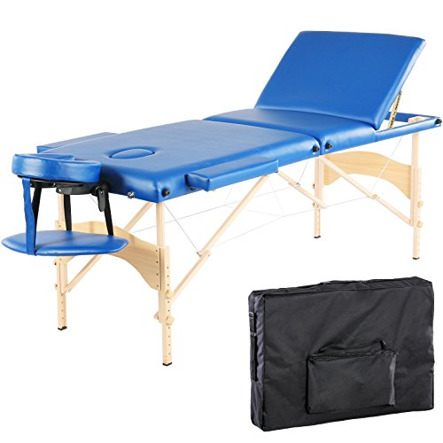 Artechworks 3 Section Portable Massage Table Facial Spa Bed with Carry Case, Dark Blue ()