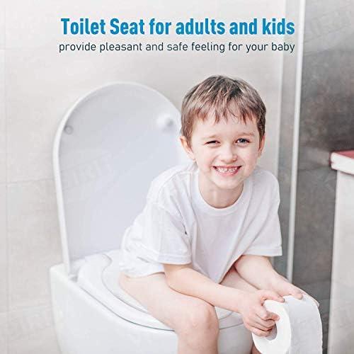VIBIRIT Abattant WC Kids Famille Si/ège de toilette Antibact/érien Amovible Auto-Recess Lunette de Toilette Blanc O Shape WC Couvercle