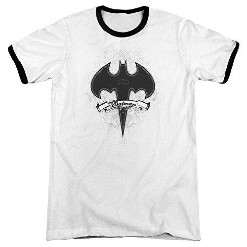 (Batman Gothic Gotham Unisex Adult Ringer T Shirt for Men and Women, Small White/Black)