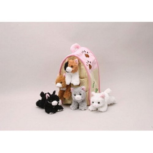Plush Cat House with Cats - Five (5) Stuffed Animal Cats in Play Kitten House Carrying Case by Unipak