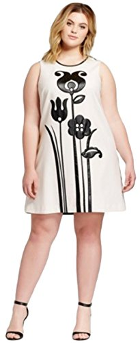 Victoria Beckham Women's Black and White MOD Shift Tulip Applique Dress - Beckhams Shop Victoria