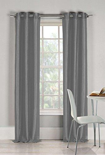 (Duck River Textiles Bali Faux Silk Grommet Top Window Curtain 2 Panel Drape, 54