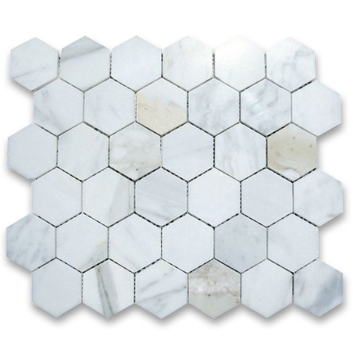 Calacatta Gold Italian Calcutta Marble Hexagon Mosaic Tile 2 inch Polished