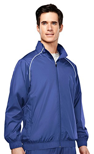 Tri-mountain Mens 100% poly micro wind coat with mesh lining - ROYAL - Large Adult Micro Poly Pullover Jacket