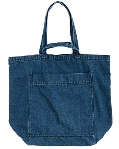 (BAGGU Denim Giant Pocket Tote, Oversized Stylish Canvas Bag for Easy Carrying, Dark Denim )