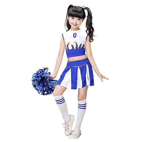 Girls Cheerleader Costume School Child Cheer Costume Outfit Carnival Party Halloween Cosplay with Match Pom poms (140/9-10 Years, Blue)