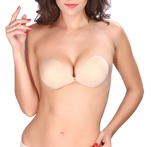 Adhesive Strapless Bra Self Silicone Sticky Bras Reusable Invisible Backless for Women(C) Beige