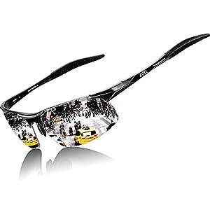 ATTCL Men's HOT Fashion Driving Polarized Sunglasses for Men Al-Mg metal Frame 8177-Black-Silver